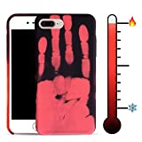 """For iPhone 7 Plus 5.5"""" Soft TPU Case Cover Magical Stylish Color Changing Heat-Sensing Case Fluorescent Thermal Heat Induction Matte Surface Back Cover for iPhone 7 plus - Black change to Red"""