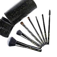 Chinashow ブラッシュアイシャドウまつげ眉毛と唇スパークリングブラック バレル・ファンデーション・パウダーブラシで7個メイクブラシセット