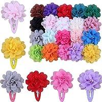 Skudgear Baby Girl's Soft Chiffon Flower Hair Clips - Pack of 20