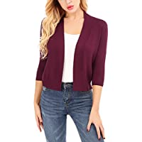 Uniboutique Lightweight Shrugs for Women Open Front Cardigan Sweaters 3/4 Sleeve