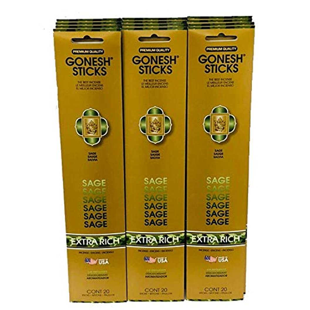 Gonesh Incense Sticks Extra Richコレクション:セージ12パック( 20 Sticks /パック