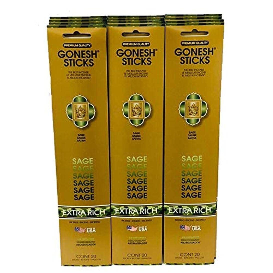 どきどき実行可能ベールGonesh Incense Sticks Extra Richコレクション:セージ12パック( 20 Sticks /パック