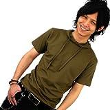 選べる8色/5サイズ/パーカー/Tシャツ/メンズ/半袖[カーキ/グレー/ブラック/レッド/ダークパープル/ネイビー/チャコール/