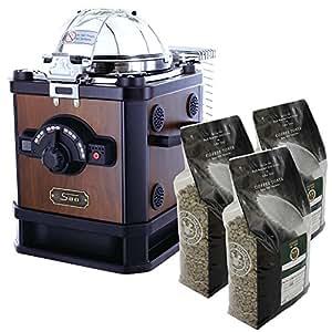 家庭用電動焙煎機 コーヒービーンロースター C100CR-N&高級生豆3種セット
