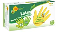 BeeSure BE2815 Latex Powder Free Exam Gloves,X-Small (Pack of 100) [並行輸入品]
