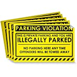 "Parking Violation Stickers for Cars (Fluorescent Yellow) - 100 No Parking Illegally Parked Cars in Private Parking Areas/Hard to Remove Super Sticky No Park Tow Warnings 8"" x 5"" by MESS"