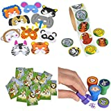 Animal Party Toy and Favor Kit Features 24 Foam Animal Masks 24 Animal Stampers 100 Animal Stickers and 12 notebooks. Great for Animal Zoo and Safari Themed Parties!