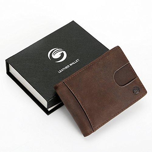 財布 マネークリップ カードケース 本革 二つ折り 小型で大容量 薄型 RFID&磁気スキミング防止 多ポケット カードと紙幣収納 高級感あり 手触り良い 名刺入れ メンズ 自分用もプレゼント用も最適