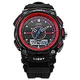 6 色 メンズ ダイバーズ ダイバー ウォッチ LED ライト 多機能 腕 時計 デジアナ デジタル デュアルコア 防水 ストップウォッチ アラーム スポーツ アウトドア (レッド)