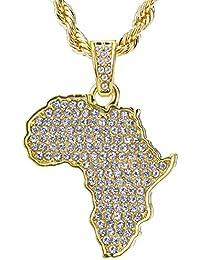 メンズ14 KゴールドメッキヒップホップIced OutイエローゴールドトーンAfricanマップペンダント、ロープチェーン24