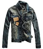 (ベクー)Bekoo メンズ デニム ライダース ジャケット オシャレ ダメージ 加工 gジャン ビンテージ デザイン サイズ M L XL XXL (03 ネイビー XL)