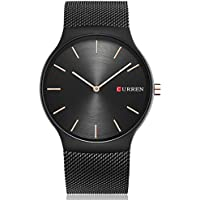 TREEWETO Men's Fashion Slim Analog Quartz Watches with Black Stainless Steel Mesh Band