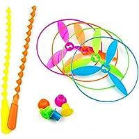 AES USアウトドア手動バランシングUFO、子供の女の子アウトドアおもちゃ、竹トンボギフト4pcs