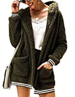 Sodossny-JP Women's Winter Oversized Open Front Hoodies Draped Pockets Cardigan Coat ArmyGreen S