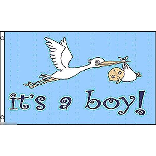 国旗 赤ちゃん 妊娠 お祝い マタニティ 出産 新生児 男の子 男児 コウノトリ 特大フラッグ【ノーブランド品】