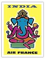 インド - エアフランス - ヒンドゥー教の主ガネーシャ - ビンテージな航空会社のポスター によって作成された ジャン・カルリュ c.1959 - アートポスター - 51cm x 66cm