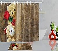 GooEoo 赤いバラのかわいいファブリックシャワーカーテンセット12プラスチックフックフランネルバスマット40x60cmバスルームカーテン71x71インチを含むレトロな木製ボードを設定