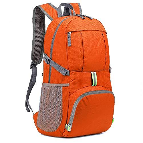 スポーツバックパック NATUCE アウトドア バックパック 登山リュック 35L超軽量パックバック 旅行用 大容量 折りたたみハイキングバッグ 防水 収納性抜群 (オレンジ)
