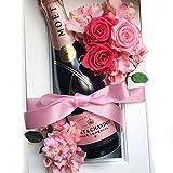 結婚祝い 花とワイン 母の日 バラ 還暦祝い MOET お祝い シャンパンギフト シャンパンモエとプリザーブドフラワーの額縁アレンジ ピンク