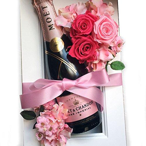 結婚祝い 花とワイン MOET お祝い シャンパンギフト シャンパンモエとプリザーブドフラワーの額縁アレンジ ピンク