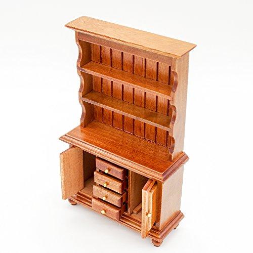 【Odoria ミニチュア家具】1/12 木製 茶色 食器棚...