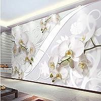 Xbwy 3Dカスタム壁画壁紙蛾の蘭の花壁画リビングルームの寝室の背景装飾-150X120Cm