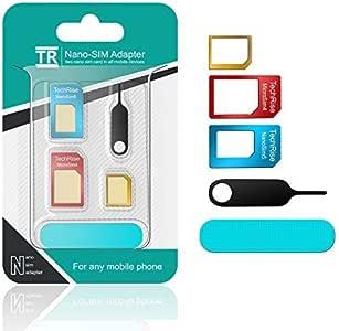 TechRise sim変換アダプター 5点セット SIMピン SIMカードフォルダ付き