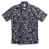 [MAJUN (マジュン)] 国産シャツ かりゆしウェア アロハシャツ 結婚式 メンズ 半袖シャツ ボタンダウン ミニラインフラワー ブラック×ブルー L