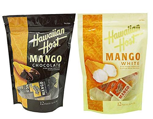 ハワイお土産 ハワイアンホースト Hawaiian Host ドライマンゴーチョコレート 120g(12枚入) + ドライマンゴーホワイトチョコレート 120g(12枚入) セット