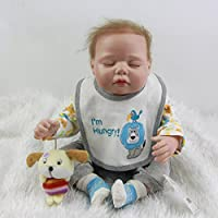 愛らしいシリコンSleeping Baby Doll 20インチLifelike Reborn Babies Boy新生児Dolls Toy with Rootedモヘア子供誕生日ギフト