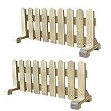 ミニ 木製ピケットフェンス幅120cm-ナチュラル-2個セット(受注製作) 小型犬用 サークル 手作り ウッドフェンス 犬 ペット 屋外 仕切り ゲート