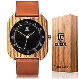 CUCOL メンズ レディース 竹彫り牛革ウォッチ 木製ケース アナログクォーツ腕時計 スタイル3