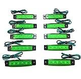 12V 6連 LED ライト サイド マーカー ランプ 10個 セット ホワイト アンバー レッド ブルー グリーン トラック ダンプ カー トレーラー デコトラ 等 カスタム パーツ (グリーン)