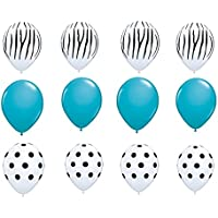 loonballoonゼブラストライプ印刷Tealブルー水玉ジャングル( 12 )ラテックスパーティーバルーンセット
