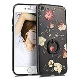 iPhone8 ケース リング iPhone7 ケース リング付き ディズニー リング付きケース tpu 花柄 バラ かわいい おしゃれ ストラップホール 携帯カバー スマホケース (iPhone7 / iPhone8, バラ1)