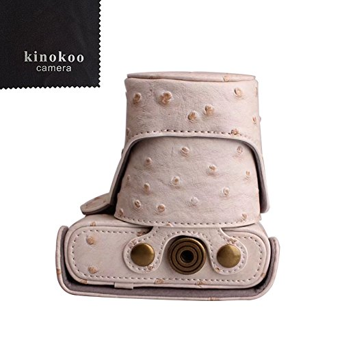kinokoo  Nikon ミラーレス一眼 J1 /J2 専用カメラケース Nikon J3 /J4 /S1ミラーレス一眼カメラ 対応 10-30 mm / 30-110mm レンズ 対応 三脚ネジ穴付き ショルダーストラップ 標識クロス付き(WT)