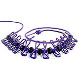 物干しロープ 12個クリップ付き マルチ機能ハンガー アウトドアハンガー 旅行 キャンプ用ハンガー 伸縮物干し竿 (Purple)