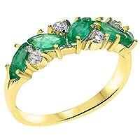 英国製(イギリス製) K10 イエローゴールド 天然 エメラルド 天然 ダイヤモンド レディースエタニティ リング 指輪 各種 サイズ あり