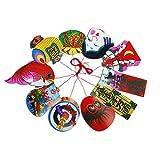 糸付き平物 小 10枚組 おかめ・鯛・小槌・宝船など【柳つり・正月・熊手・縁起物飾り製作などに】