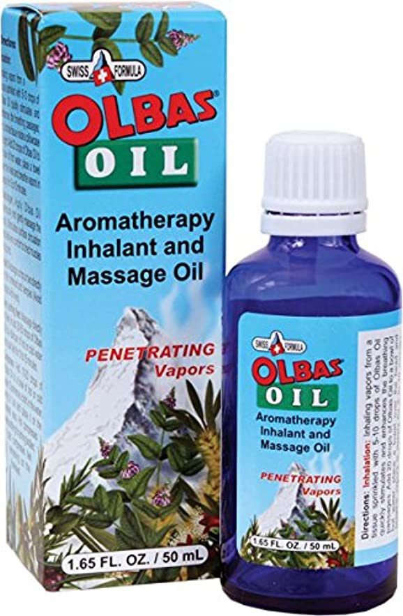 五十幽霊装置Olbas Therapeutic, Olbas Oil, Aromatherapy Inhalant and Massage Oil, 1.65 fl oz (50 ml)