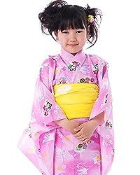 (キョウエツ) KYOETSU ガールズ浴衣2点セット gp 紅梅織り うさぎ 金魚 桜 蝶 100-130cm (浴衣 兵児帯)