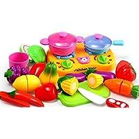 WS-HOME おままごと セット おもちゃ 収納バスケット 包丁 切る 野菜 果物 ごっこ 遊び 女の子 男の子 お祝い プレゼント