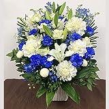 白と青のアレンジメント(LL)(サイズ 高さ:約75cm×幅:約40cm×奥行:約40cm)