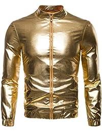 Keaac メンズスタイリッシュ金属フロントジップナイトクラブパーティー軽量ジャケット