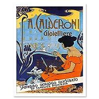 Adolf Hohenstein A Calderoni Gioielliere Art Print Framed Poster Wall Decor 12x16 inch ポスター 壁 デコ