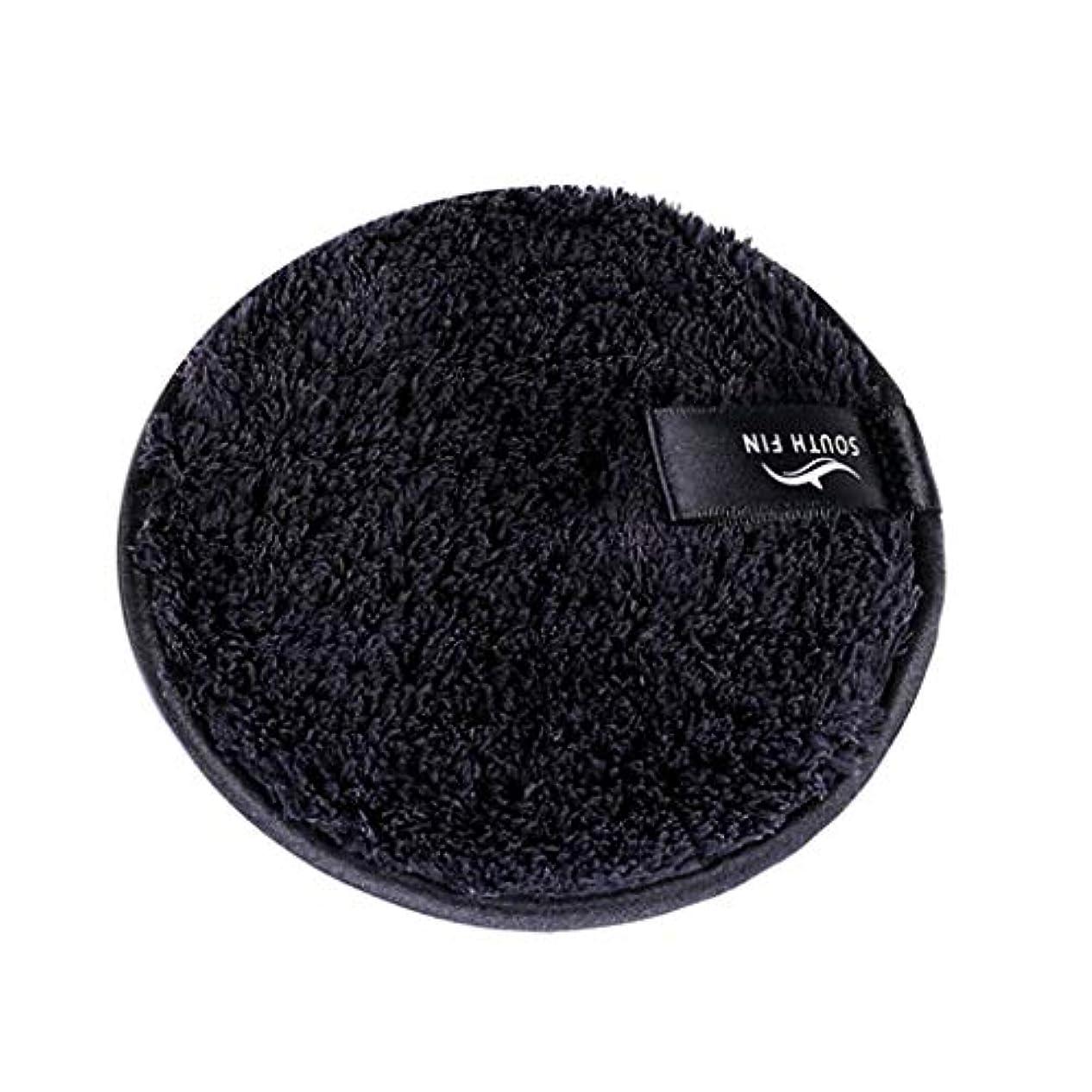 甘くする通り抜ける階リユースメイクリムーバーパッド化粧品フェイシャルクレンジングパフスポンジ - ブラック