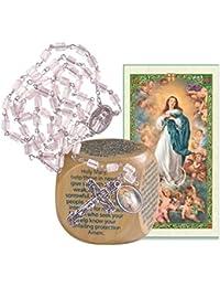 Immaculate ConceptionピラービーズロザリオwithシルバーメッキMedal and Marian prayersキューブとBlessed Prayerカード