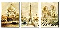 wowdecor壁アート3パネルPiecesキャンバスペイントPrints複数の画像–美しいパリ、エッフェル塔Giclee画像ペイントプリントキャンバスの、ポスター壁装飾ギフト–Unframed S HH-3P-004-Paris