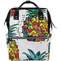ママバッグ マザーズバッグ リュックサック ハンドバッグ 旅行用 パイナップル柄 カラフル ファション