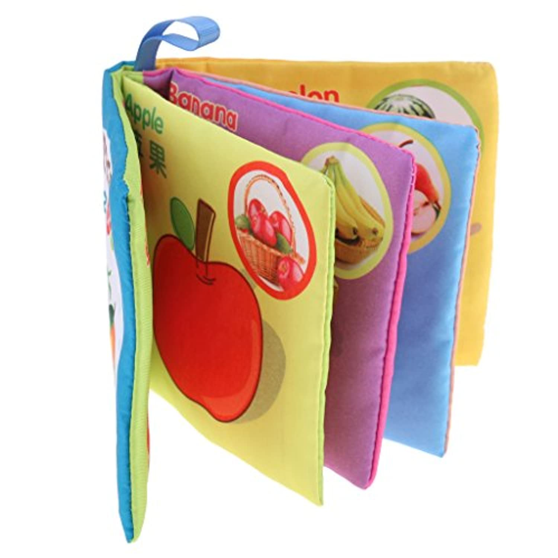 dovewill Preschool教育Developmental 10ページ布Cognize Book withサウンドおもちゃ幼児赤ちゃんの子学習学校供給Fruits
